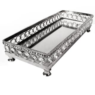Elegance Sparkle Vanity Mirror Tray with Beaded Crystals|https://ak1.ostkcdn.com/images/products/11165795/P18160675.jpg?impolicy=medium
