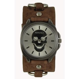 Nemesis Silver Skull Head Watch with Faded Brown Ring Leather Cuff Band BFRB935S