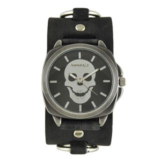 Nemesis Black Skull Head Watch with Faded Black Ring Leather Cuff Band KFRB935K