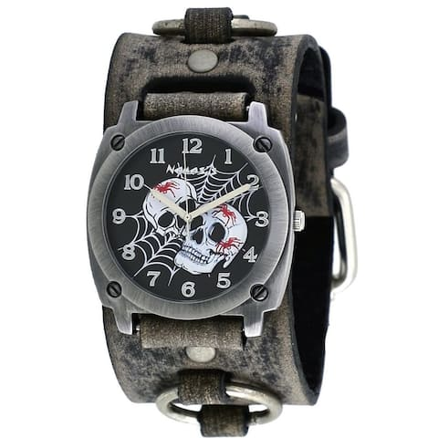 Nemesis Black Web of Skulls Watch with Faded Grey Leather Cuff Band
