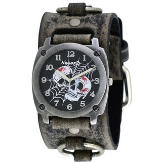 Nemesis Black Web of Skulls Watch with Faded Grey Leather Cuff Band FRB931K