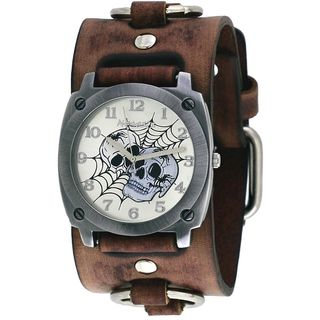 Nemesis Silver Web of Skulls Watch with Faded Brown Ring Leather Cuff Band BFRB931S