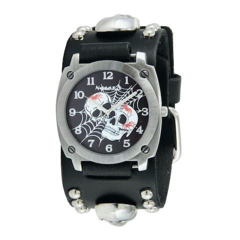 Nemesis Black Web of Skulls Watch with Black Skull Studded Leather Cuff Band