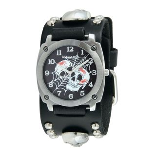 Nemesis Black Web of Skulls Watch with Black Skull Studded Leather Cuff Band MSK931K
