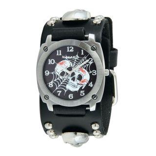 Nemesis Black Web of Skulls Watch with Black Skull Studded Leather Cuff Band MSK931K