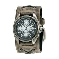 Nemesis Black/Silver Skull Compass Watch with Faded Grey X Leather Cuff Band