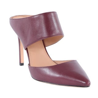 Halston Heritage Isabella Brown Leather Pointed-Toe Mule