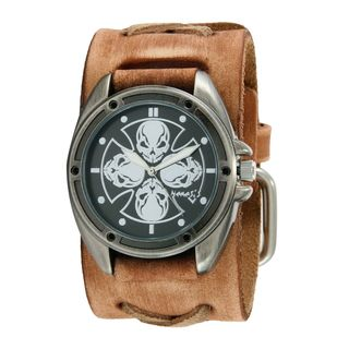 Nemesis Black/Silver Skull Compass Watch with Faded Brown X Leather Cuff Band BFXB909K