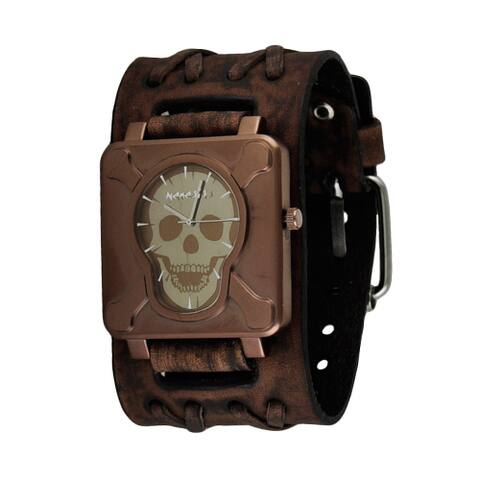 Nemesis Brown Square Cross Bones Skull Watch with Faded Double X Wide Leather Cuff Band BVDXB930B