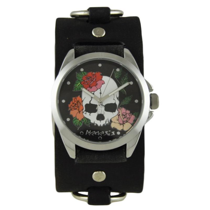 Nemesis Black Skull and Roses Watch with Faded Black Ring...