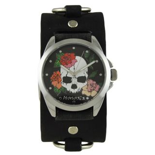 Nemesis Black Skull and Roses Watch with Faded Black Ring Leather Cuff Band KFRB934K