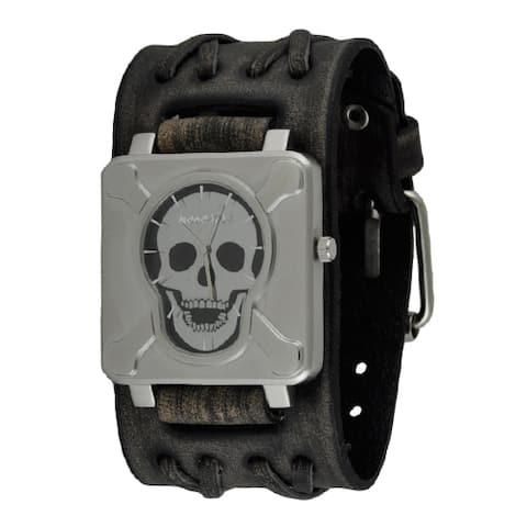 Nemesis Black/Silver Square Cross Bones Skull Watch with Faded Wide Double X Leather Cuff Band - Black