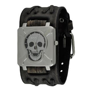 Nemesis Black/Silver Square Cross Bones Skull Watch with Faded Wide Double X Leather Cuff Band VDXB920K|https://ak1.ostkcdn.com/images/products/11165859/P18160849.jpg?impolicy=medium