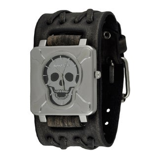Nemesis Black/Silver Square Cross Bones Skull Watch with Faded Wide Double X Leather Cuff Band VDXB920K