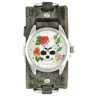 Nemesis Silver Skull and Roses Watch with Faded Grey Ring Leather Cuff Band FRB934S