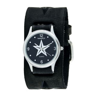 Nemesis Black Vintage Punk Rock Star Watch with Faded Black Embossed Star Leather Cuff Band FST355K