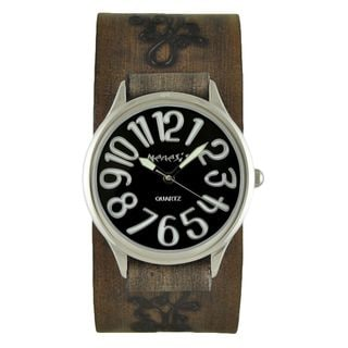 Nemesis Black/White Always Summer Watch with Faded Dark Brown Embossed Flower Design Leather Cuff Band DBVFB108K