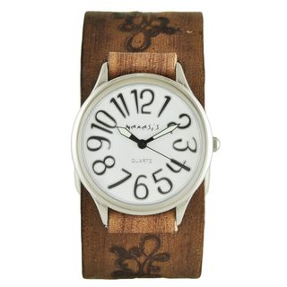 Nemesis White/Black Always Summer Watch with Faded Light Brown Embossed Flower Design Leather Cuff Band BVFB108S