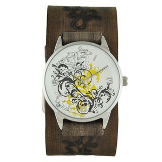 Nemesis Yellow Plant Art Watch with Faded Dark Brown Embossed Flower Design Leather Cuff Band DBVFB827Y
