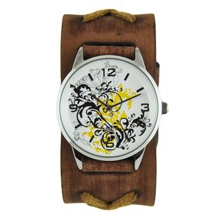 Nemesis Yellow Plant Art Watch with Faded Brown X Leather Cuff Band BFXB827Y
