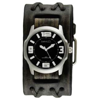 Nemesis Black/White Embossed 3D Collection II Watch with Wide Faded Black Double X Leather Cuff Band VDXB107K|https://ak1.ostkcdn.com/images/products/11165880/P18160859.jpg?impolicy=medium