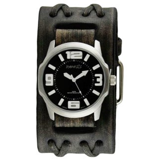 Nemesis Black/White Embossed 3D Collection II Watch with Wide Faded Black Double X Leather Cuff Band VDXB107K