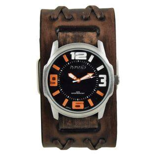 Nemesis Black/Orange Embossed 3D Collection II Watch with Faded Brown Double X Leather Cuff Bad BVDXB107KN|https://ak1.ostkcdn.com/images/products/11165889/P18160860.jpg?impolicy=medium