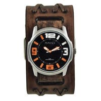 Nemesis Black/Orange Embossed 3D Collection II Watch with Faded Brown Double X Leather Cuff Bad BVDXB107KN - Black