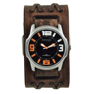 Nemesis Black/Orange Embossed 3D Collection II Watch with Faded Brown Double X Leather Cuff Bad BVDXB107KN