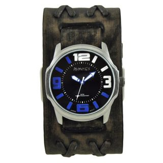 Nemesis Black/Blue Embossed 3D Collection II Watch with Wide Faded Black Double X Leather Cuff Band VDXB107KL