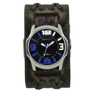Nemesis Black/Blue Embossed 3D Collection II Watch with Wide Faded Black Double X Leather Cuff Band VDXB107KL|https://ak1.ostkcdn.com/images/products/11165890/P18160861.jpg?impolicy=medium
