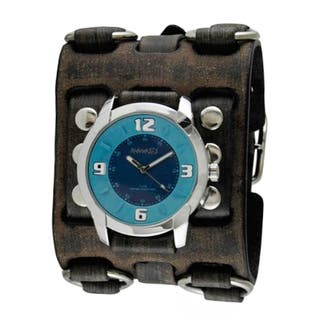 Nemesis Blue Embossed Watch with Faded Black Wide Detail Leather Cuff Band FWB106L|https://ak1.ostkcdn.com/images/products/11165891/P18160862.jpg?impolicy=medium