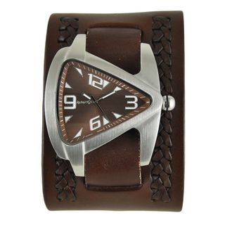 Nemesis Brown Oversized Teardrop Watch with Wide Brown Weaved Leather Cuff Band