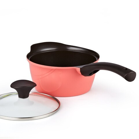 Cook N Home 1.7 Quart Nonstick Ceramic Coating Die Cast Saucepan with Lid, Pink