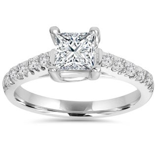 14k White Gold 1 1/4ct TDW Diamond Clarity Enhanced Engagement Diamond Ring