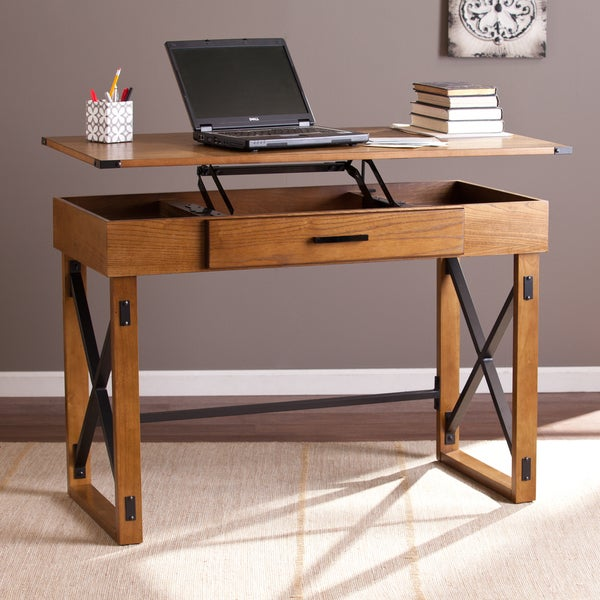 Harper Blvd Carlan Distressed Pine Adjustable Height Desk ...