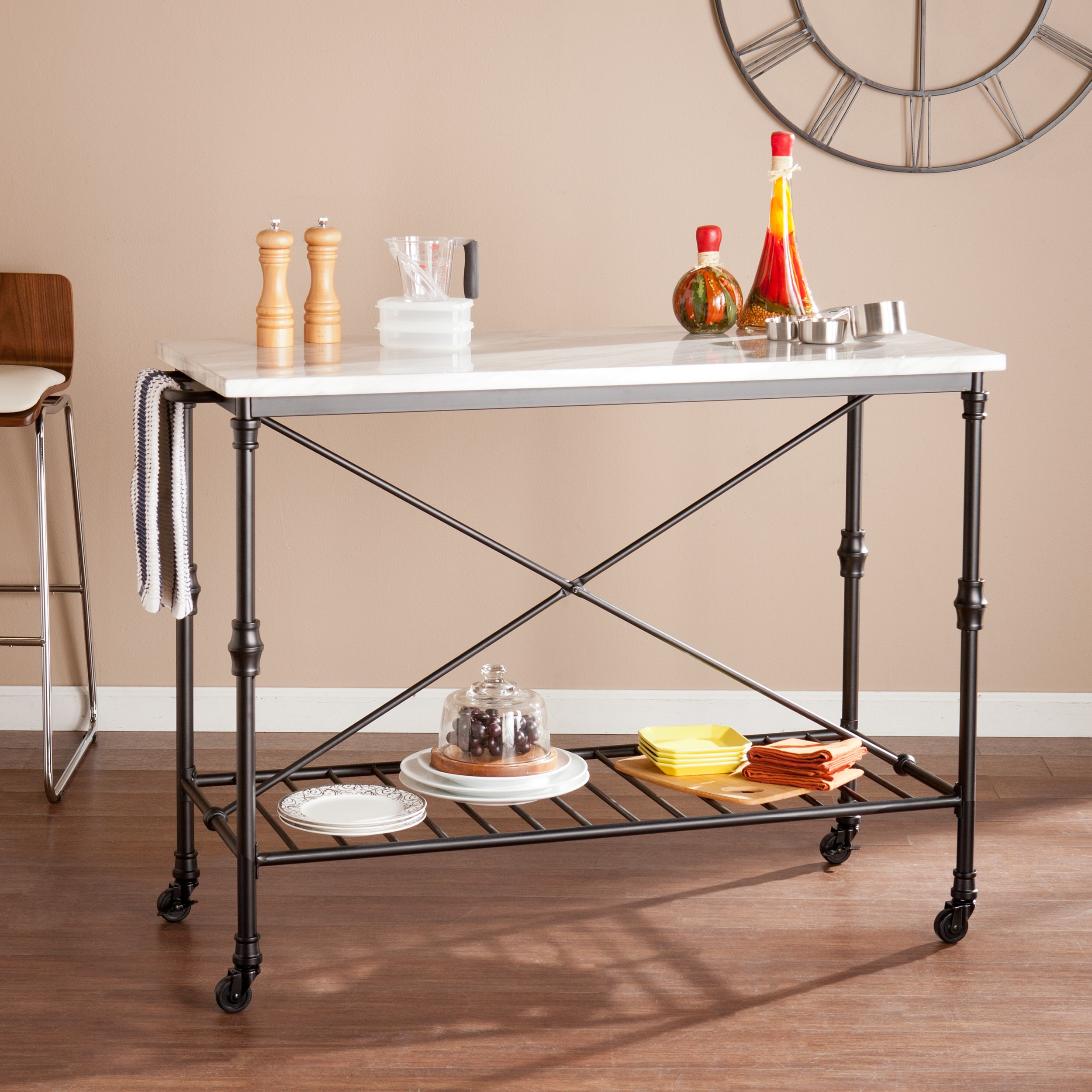 Details About Rolling Kitchen Island Cart Black Grey Faux Marble Top Handle Open Shelf Bar New