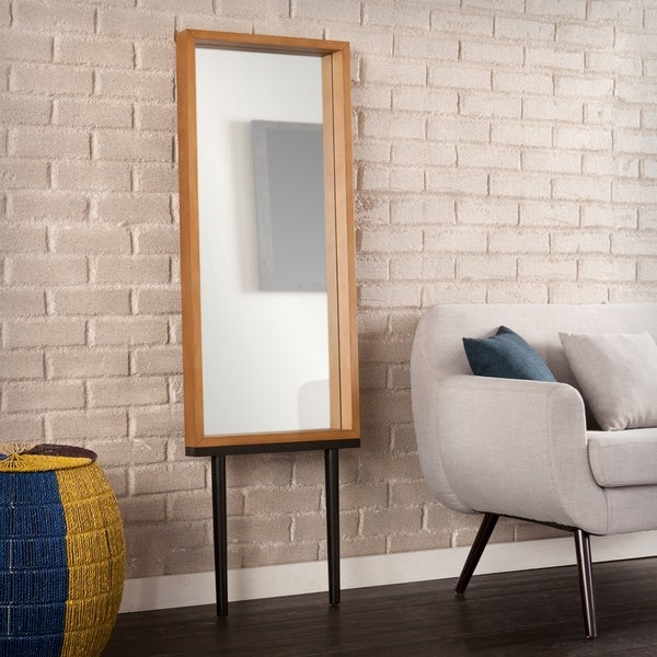 Holly & Martin Sawa Weathered Gray Leaning Mirror - weathered gray oak - A/N