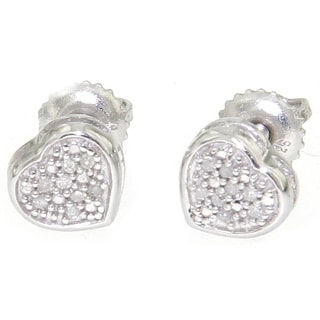 Sterling Silver Diamond Accent Pave Heart Stud Earrings