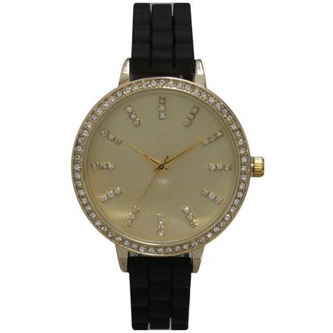 Olivia Pratt Women's Classy Silicone Rhinestone Watch