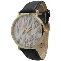 Olivia Pratt Women's Leather Feather Watch