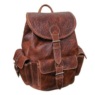 Amerileather Vacationer Jumbo Ostrich-Print Leather Backpack