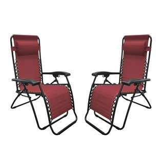 Caravan Canopy Burgundy Infinity Zero Gravity Chair (2 Pack)