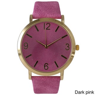 Olivia Pratt Classic Elegance Leather Watch (Option: Dark Pink)