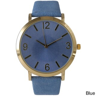 Olivia Pratt Classic Elegance Leather Watch (Option: Blue)