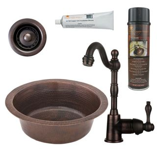 Premier Copper Products BSP4_BR14DB2-B Bar/ Prep Sink, Faucet and Accessories Package