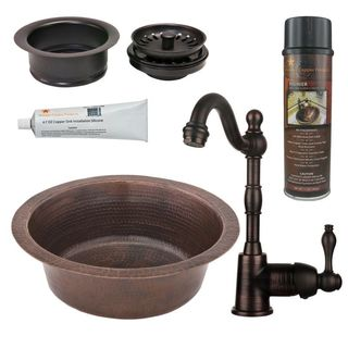 Premier Copper Products BSP4_BR14DB3-G Bar/ Prep Sink, Faucet and Accessories Package