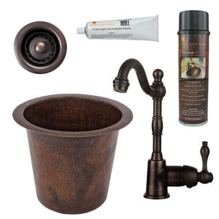 Premier Copper Products BSP4_BR12WDB-B Bar/ Prep Sink, Faucet and Accessories Package