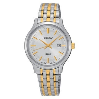 Seiko Ladies SUR793 Stainless Steel Two Tone Silver Dial Water Resistant Watch