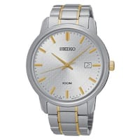Seiko Men's SUR197 Stainless Steel Silver Tone Dial with a Date Window at 3:00 O'clock Watch - N/A